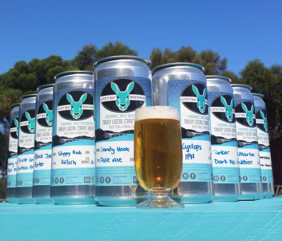 big cans from Lucky Bay Brewing, Esperance