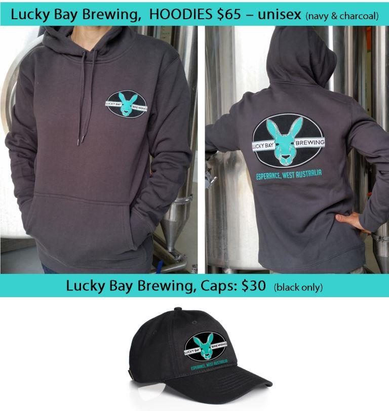 Lucky Bay Brewing hoodies and caps.