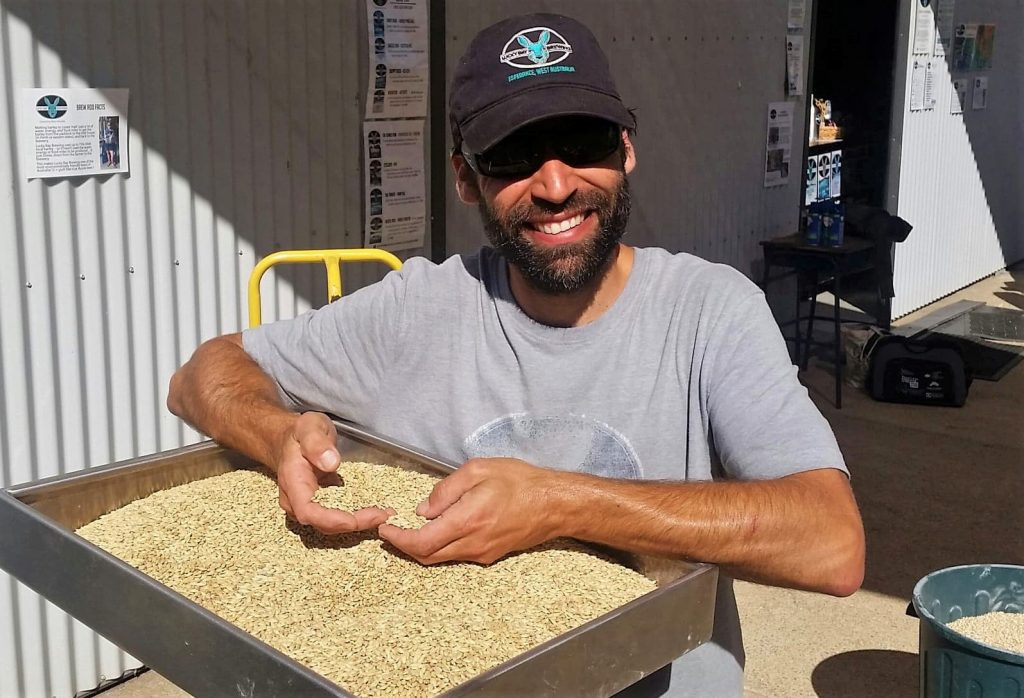 Lucky Bay Brewing co-owner, Nigel with local barley